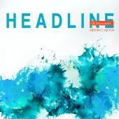 Sea blue centered decorative watercolor banner — Stock vektor