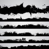 Çizilmiş grunge cabukşalterli, siyah siluetler sıçramalarına — Stok Vektör