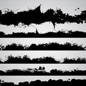 Salpicos de grunge desenhado silhuetas conjunto, pretas — Vetor de Stock