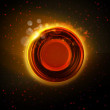 Постер, плакат: Abstract hot orange glowing ring background