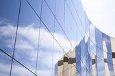 Glass panes on facade of trade building — Stock Photo