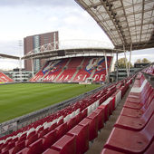 Bunnik side in stadium of soccer club fc utrecht in the netherla — Stock Photo