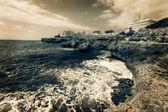 Rocky ocean shore, black and white photo — Stock Photo