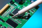 Solder and electronic circuit board — Stock Photo