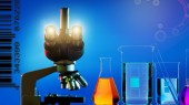 Microscope and abstract science background — Stock Photo