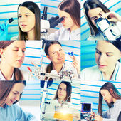 Student girl in laboratory — Stockfoto