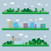 Urban landscape illustration set — Stock Vector