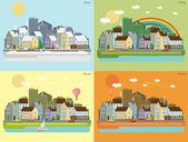Urban landscape of four seasons — Stock Vector