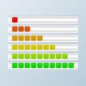 Set di barre di avanzamento. indicatori di caricamento. — Vettoriale Stock