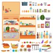 Refrigerator with food — Stock Vector #56729053