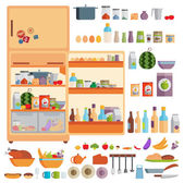 Refrigerator with food — Stock Vector