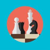Chess figures on a chess board. — Stok Vektör