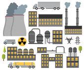 Modern industrial flat buildings set. — Stock Vector