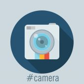 Platte camerapictogram — Stockvector