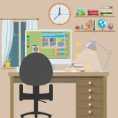 Workstation, flat design — Stock Vector