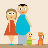 Couple, baby and cat — Vector de stock