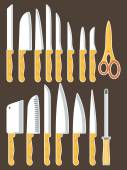 Different types of kitchen knives — ストックベクタ