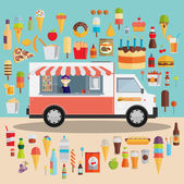 Wagon full of tasty summer food — Stock Vector