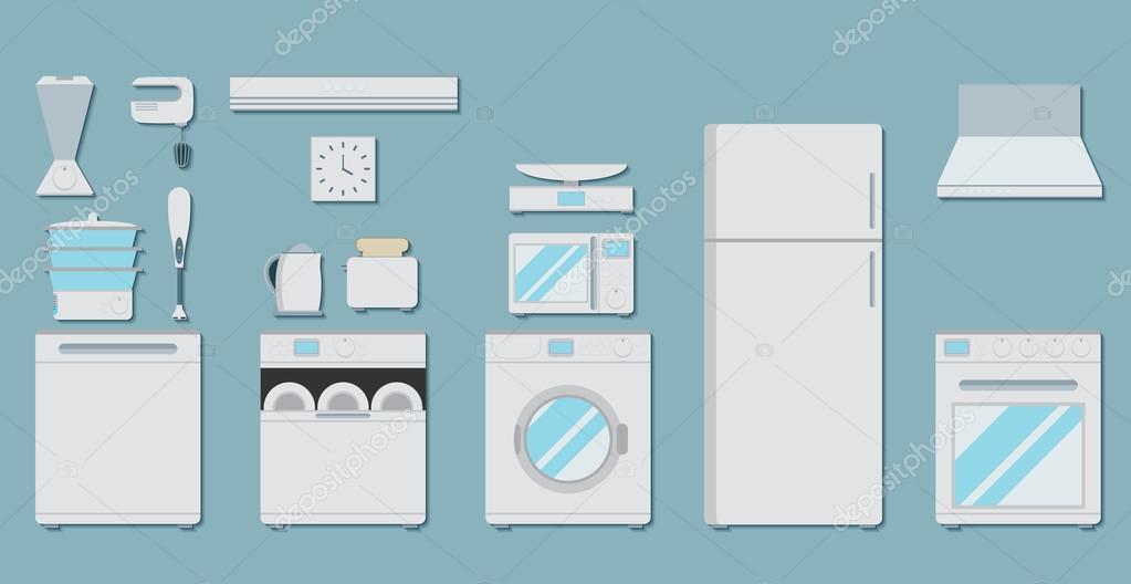 Iconos planos para aparatos de cocina vector de stock for Planos de cocina en linea