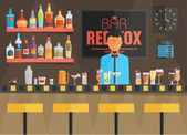 Bar counter with barman — Stock Vector