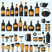 Alcohol drinks icon set — Stock Vector