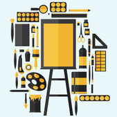 Icons set of art supplies — Stock Vector