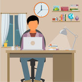 Man is working with laptop — Stock Vector