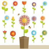 Set of floral icons — Stock Vector