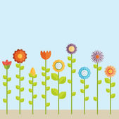 Field of Spring flowers — Stock Vector