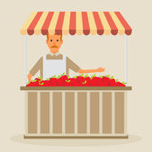 Owner working in his store — Stock Vector