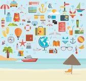 Travel vacation set — Vector de stock
