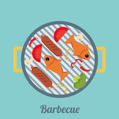 Barbecue and grilled food — Stock Vector