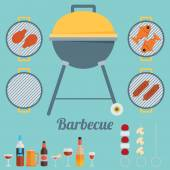 Flat icon set for barbecue — Stock Vector