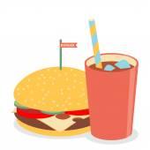 Flat icons of hamburger with soda — Stock Vector