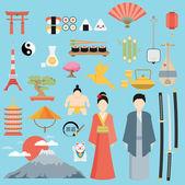 Flat Japan icons and symbols set — Stock Vector