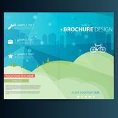 Brochure Design Template with Bicycle — Stock Vector