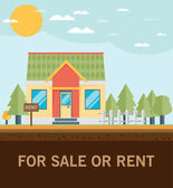 Platte huis te huur — Stockvector