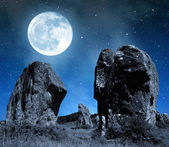 Megalithic monuments menhirs in Carnac — Stock Photo