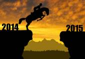 Horse jumping into the New Year 2015 — Stockfoto