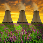 Chimneys of nuclear power plant — Stock Photo
