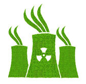 Green nuclear power plant icon — Stock Photo