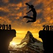 Girl jumps to the New Year 2015 — Stock Photo #57056465
