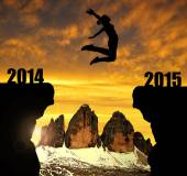 Girl jumps to the New Year 2015 — Stock Photo