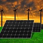 Панели солнечной энергии с ветровых турбин — Стоковое фото #59201527