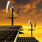 Панели солнечной энергии с ветровых турбин — Стоковое фото #59466473