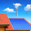 Solar panel on the roof of the house — Stock Photo #67849833