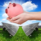 Solar panels and hand holding a pink piggy bank. — Stockfoto