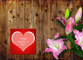 Mothers day card with pink Lily flower — Stock Photo