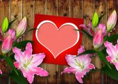 Card with heart and pink Lily flower — Stock Photo