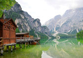 Boathouse at the Lago di Braies — Stock Photo